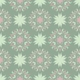Green floral background. Seamless pattern with flower designs. For wallpapers, textile and fabrics Royalty Free Stock Image