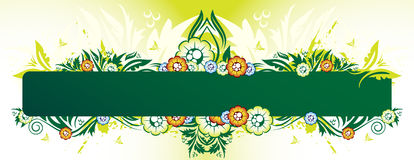 Green floral banner. With place for your text Stock Images