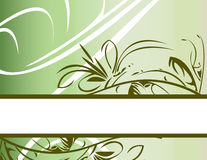 Green floral banner background. Green gradient background with lower floral banner Vector Illustration