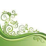 Green floral banner isolated Stock Image