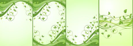 Green floral banners. Collection of green floral banners Stock Photo