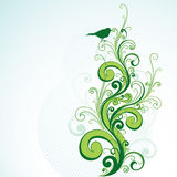 Green floral and bird design  Stock Photos