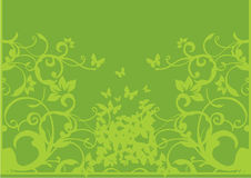 Green floral and butterflies Royalty Free Stock Photography
