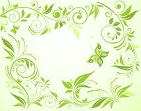 Green floral card Stock Photo