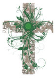 Green floral cross Royalty Free Stock Image