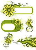 Green floral design elements Stock Photos