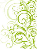 Green floral design on white background