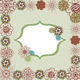 Green floral doodle retro frame in vector Stock Image