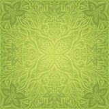 Green Floral Easter Decorative ornate pattern wallpaper vector mandala design background stock illustration