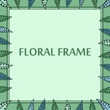 Green floral  frame with leaves Royalty Free Stock Images