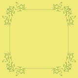 Green Floral Frame on a Yellow Background Royalty Free Stock Photos