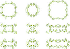 Green floral frames Stock Photos