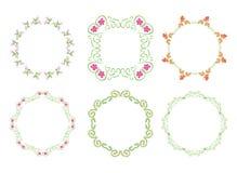 Green floral frames - set - vector Stock Photos