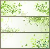 Green floral horizontal banners Stock Photos