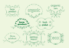 Green floral labels for natural products - vector. Green floral labels for natural products -  vector Stock Image