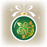 Green floral ornate christmas ball Royalty Free Stock Images