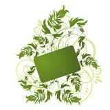 Green floral pattern on white background Stock Photo