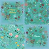Green floral patterns set Royalty Free Stock Photos