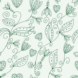 Green floral seamless pattern Royalty Free Stock Photo