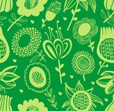 Green floral seamless pattern Stock Photography