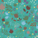 Green floral seamless pattern. Colorful flowers Royalty Free Stock Images
