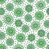 Green floral seamless pattern. Pretty hand drawn doodle background. Stock Photo