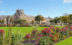 Green and floral Tuileries gardens in Paris Stock Image