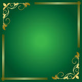 Green floral vector card with golden frame Stock Photography