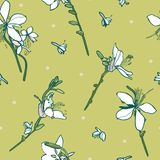 Green floral vector pattern with lily. vector illustration