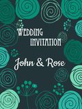 Green floral wedding invitation card Royalty Free Stock Images