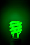 Green Flourescent Light Bulb. Typical compact flourescent light bulb in green color Stock Images