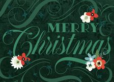 Green Flourish Merry Christmas Card vector illustration