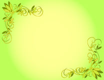 Green Flower Background. Yellow gradient background with diagonal corner decoration Stock Images