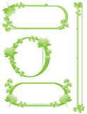 Green flower border set. With oval, circular, and header items isolated on white vector illustration