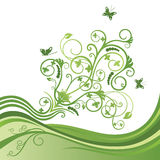 Green flower and butterfly border Stock Photos