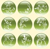 Green Flower Buttons or Icons. Stock Photos