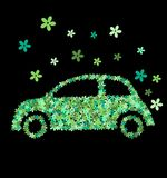 Green flower car. A green car of flowers on black background Royalty Free Stock Photography