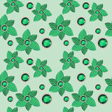 Green flower with emerald seamless pattern Royalty Free Stock Photos