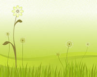 Green Flower and Grass Vector. Flower and Grass with Gradient and Half Tone Pattern Royalty Free Stock Image
