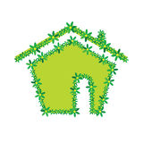 Green flower house vector illustration Royalty Free Stock Photos