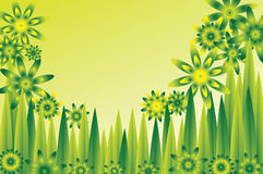 Green flower meadow. Background of a  meadow with abstract green and yellow flowers Stock Image