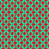 Green flower petals on a red background seamless pattern Royalty Free Stock Image