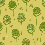Green flower round. Seamless pattern. Green flower on a green background. For printing on packaging, bags, cups, laptop, furniture, etc. Vector Stock Photo