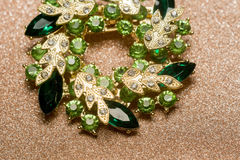 Green Flower Shaped Brooch Royalty Free Stock Photos