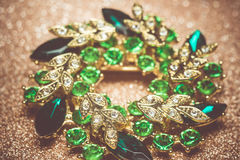 Green Flower Shaped Brooch Royalty Free Stock Image
