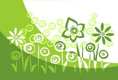 Green flower silhouettes Royalty Free Stock Image