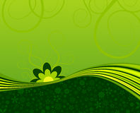 Green flower swoosh. Vector illustration of green floral background with copyspace Stock Photography