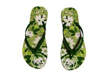 Green flowers beach slippers for girl top view 3d render on white background no shadow royalty free stock photography