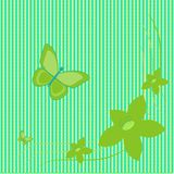 Green flowers and butterflies on green background Royalty Free Stock Image