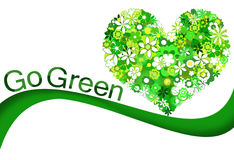 Green flowers heart and Go Green wording Stock Photography